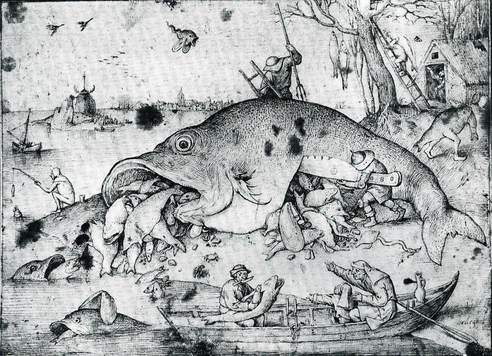 Vvork carving for Big fish eat little fish